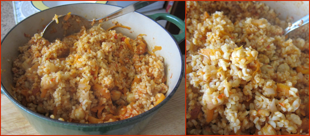 2 pics of pot of bulgur and closeup of bulgur