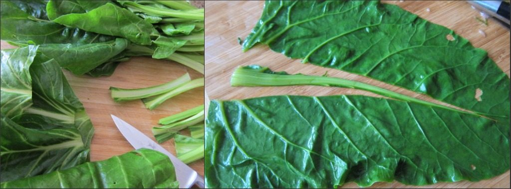 Preparing the chard leaves