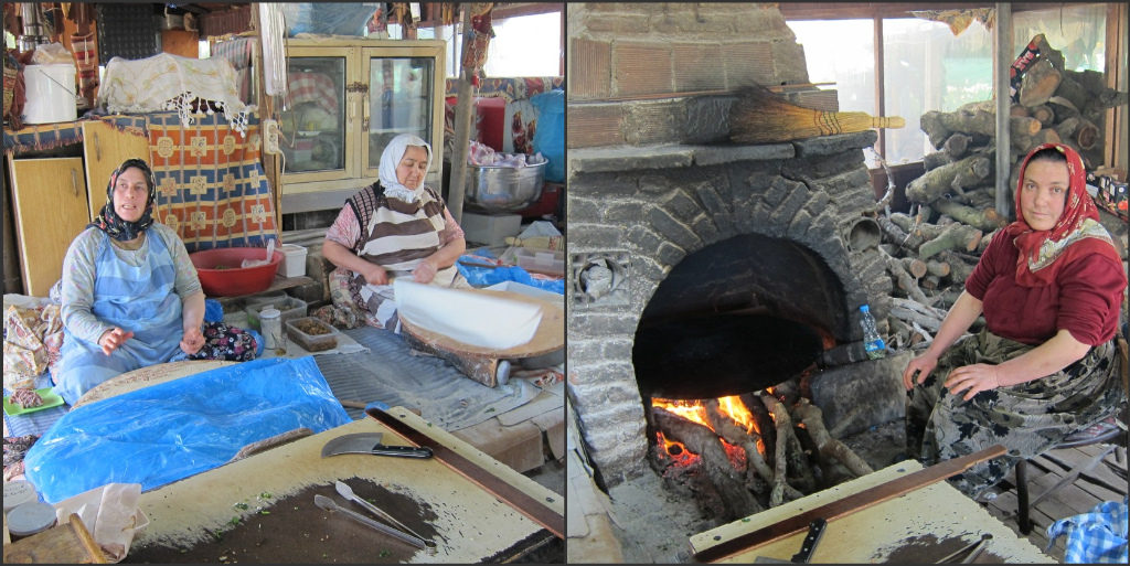 The woman on the right is waiting to cook our gözleme over her hot fire