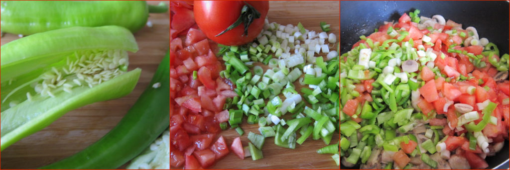 3 pics of preparing veg