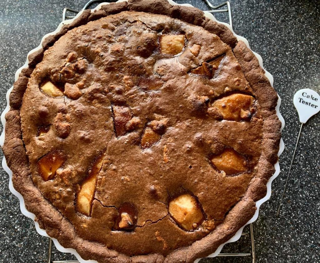 Cooked and cooling Chocolate Pear Tart