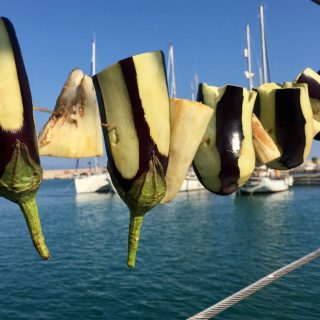 Drying Aubergine on board