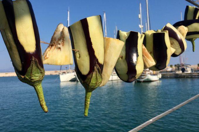 Drying Aubergine on board