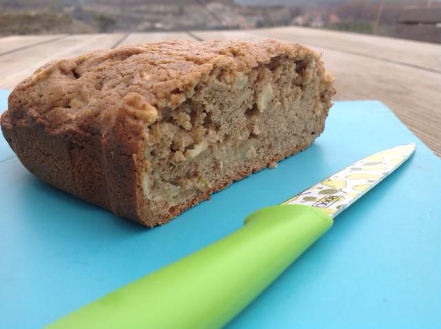 Dutch apple cake baked in a bread maker