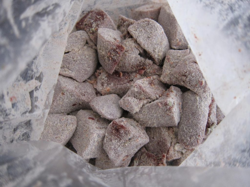 Liver seasoning in plastic bag