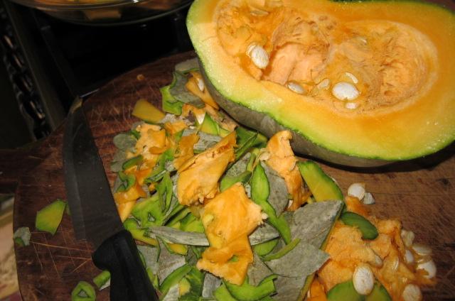 pumpkin sliced to be used in pumpkin gratin