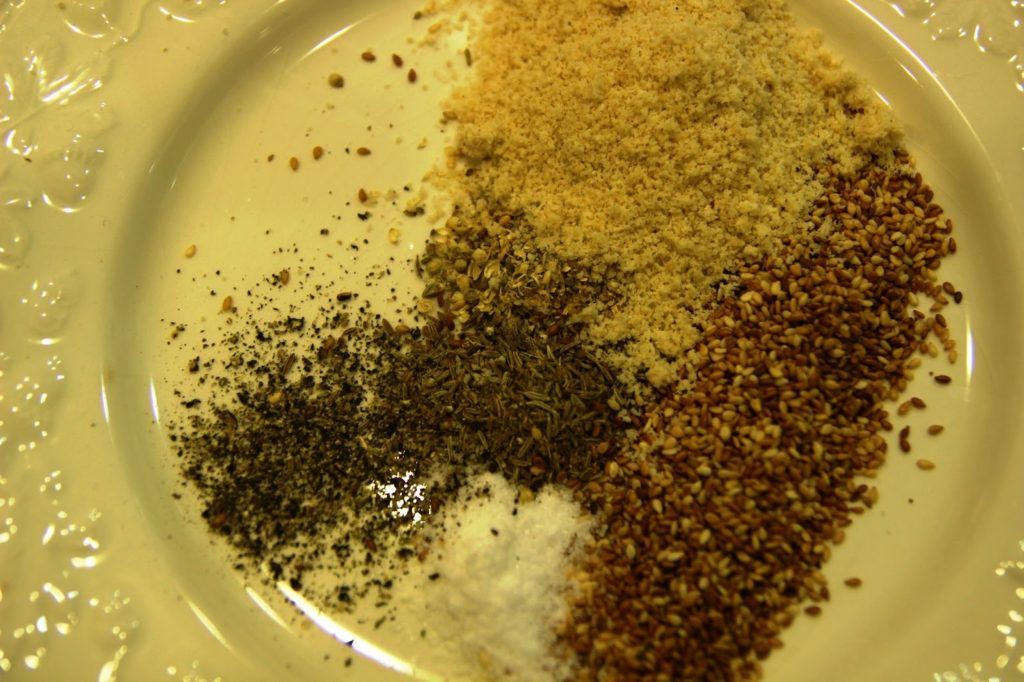 seeds, ground almonds and seasoning