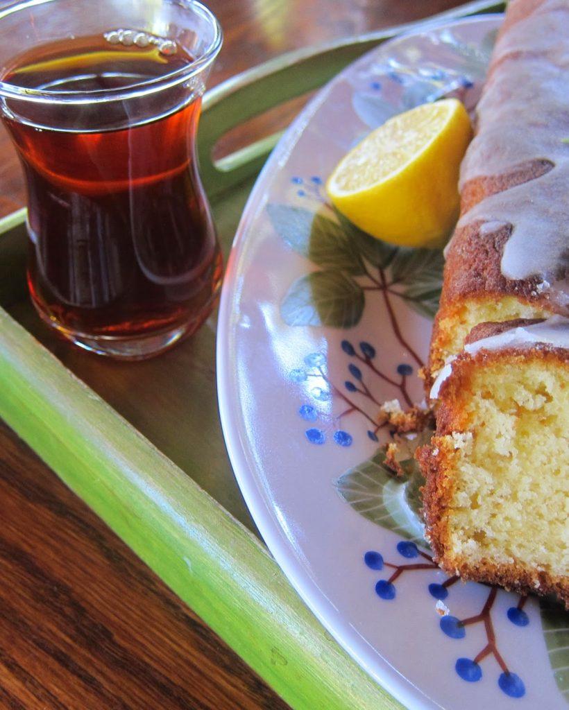 Lemon cake served