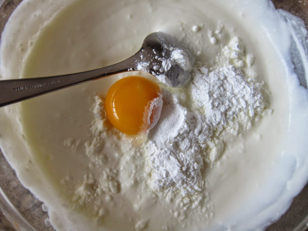 Egg yolk, cornstarch and yogurt