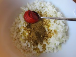 red pepper paste, onion and cumin