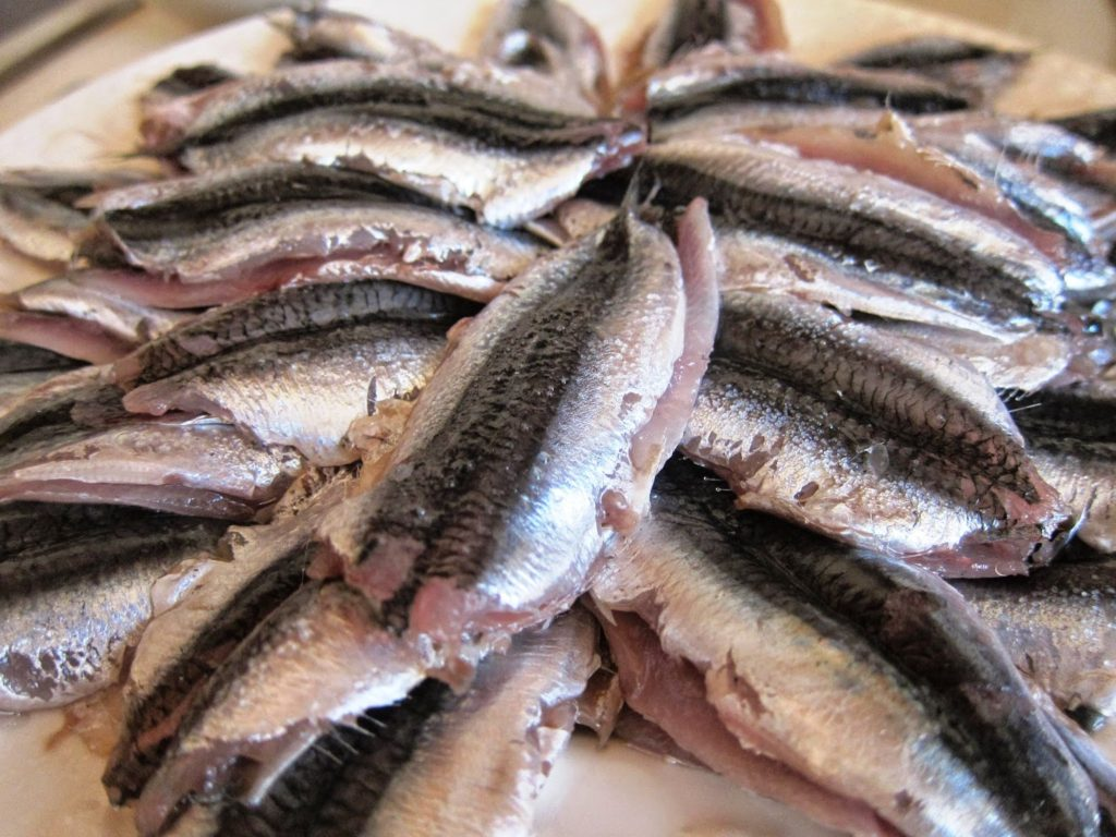Anchovies ready to cook