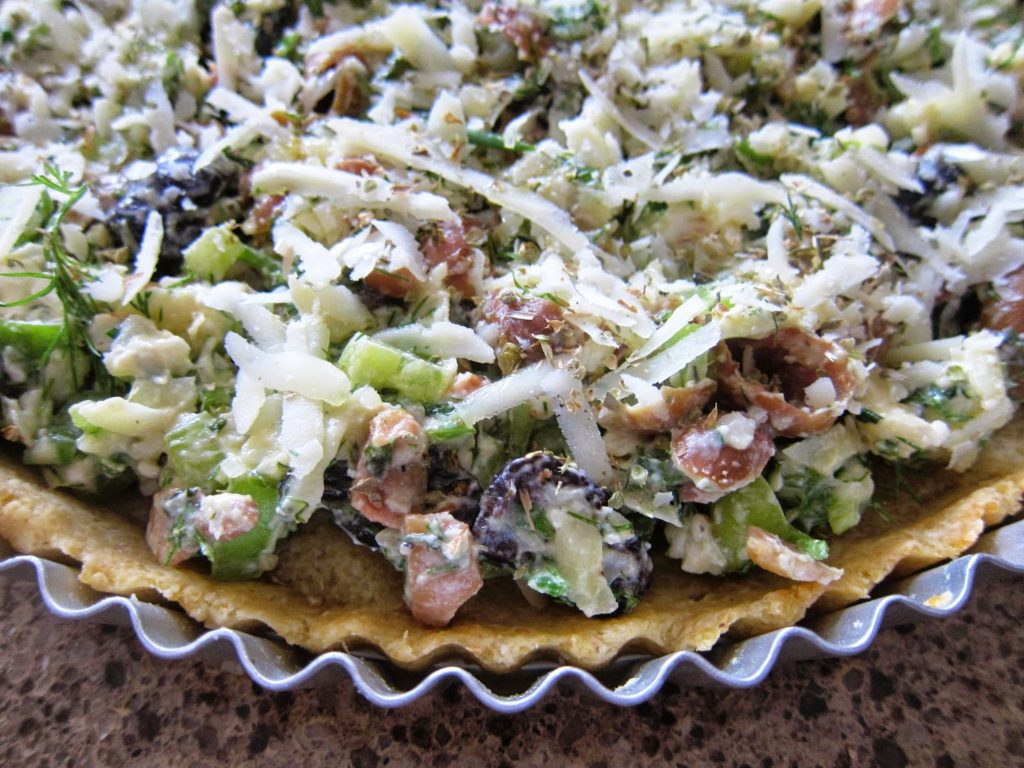 green and black olive tart