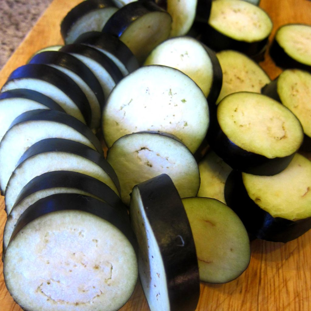 Aubergine sliced into rounds