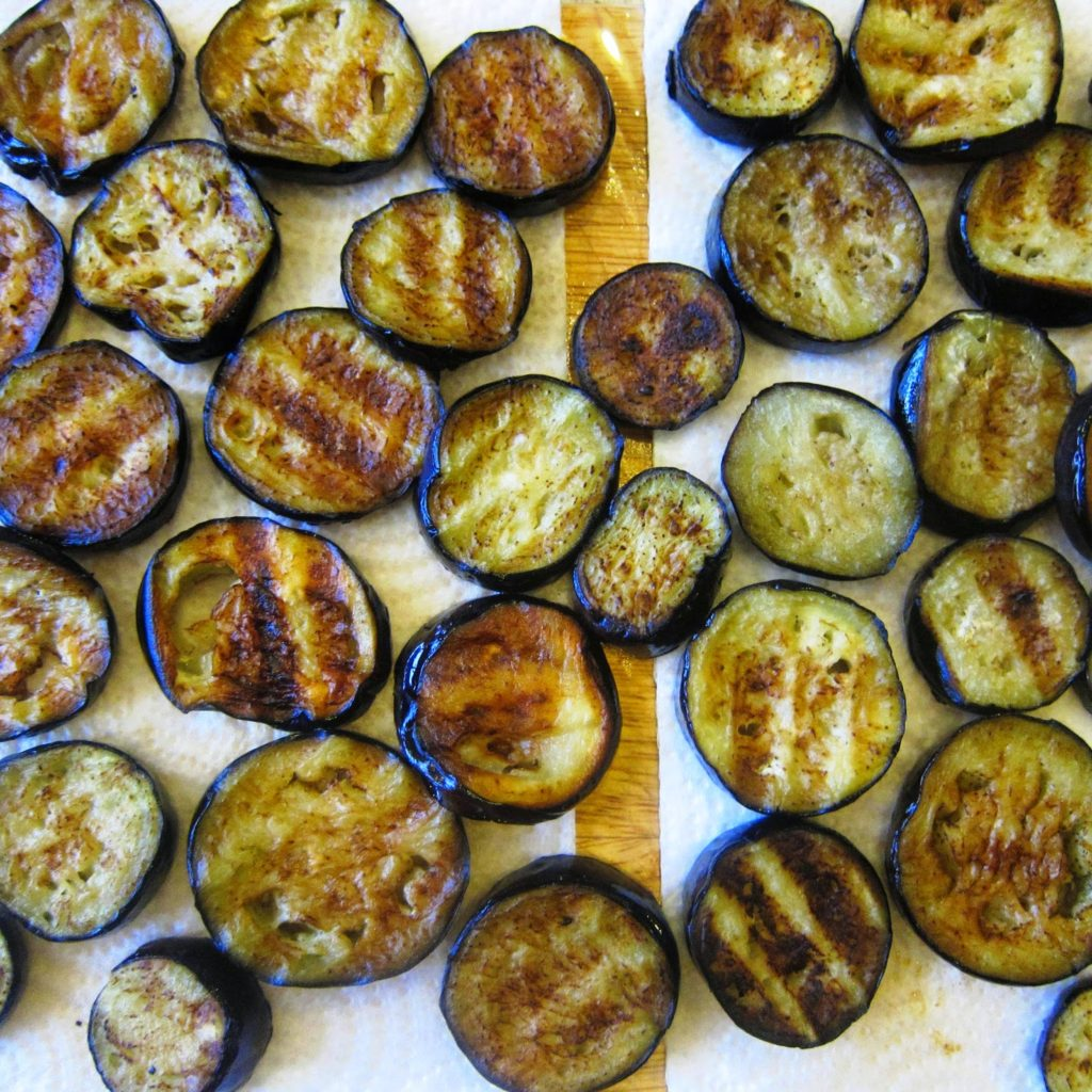 Chargilled aubergine slices