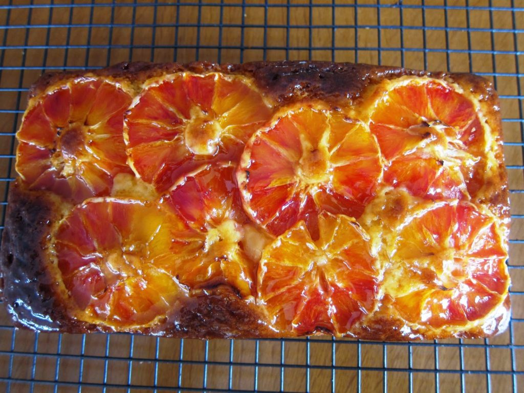 Yogurt cake with blood oranges