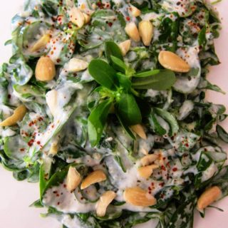 Purslane Salad with Yogurt & Almonds/Yoğurtlu Semizotu Salatası
