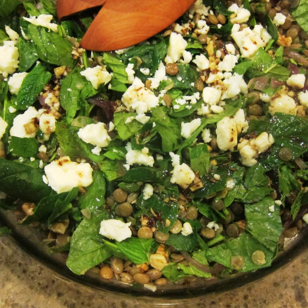 lentils, mint and white cheese salad with pomegranate dressing