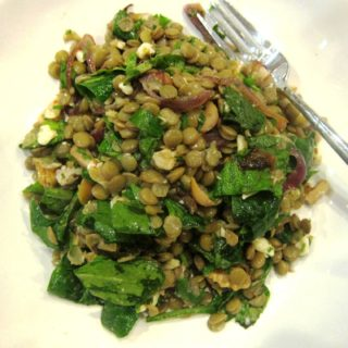 lentil, mint and white cheese salad with pomegranate dressing