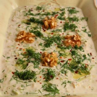 Courgettes with Walnuts in a Garlic Yogurt Sauce/Cevizli Sarımsaklı Kabak Mezesi