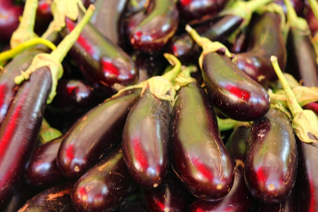 purple aubergines
