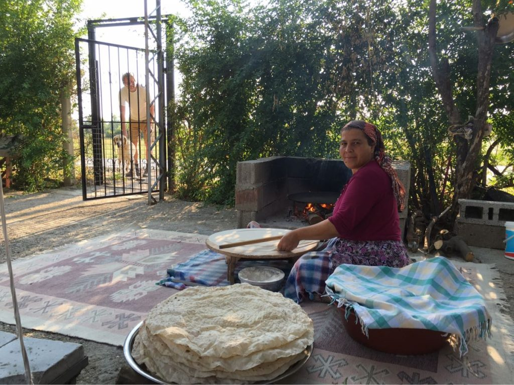 Cooking outside dried bread