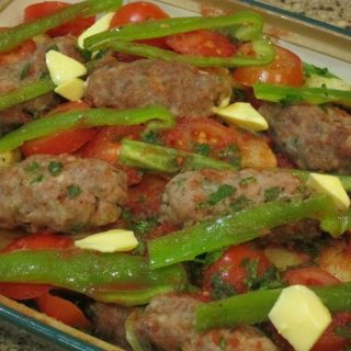 Izmir Köfte – casserole of meatballs, potatoes, tomatoes and peppers