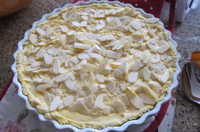 Bakewell tart uncooked