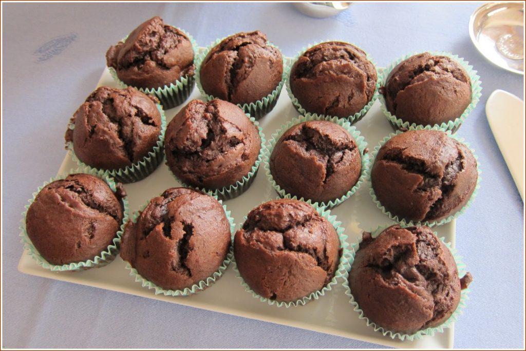 Chocolate banana muffins for tea