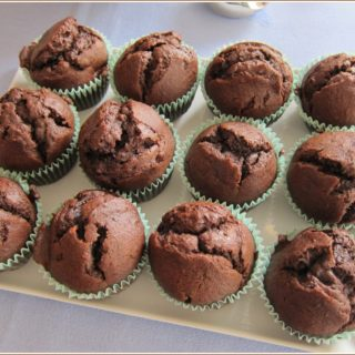Tray of 12 chocolate banana muffins