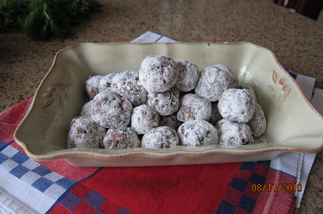 floured meatballs