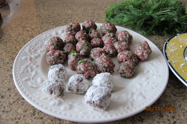 flouring meatballs