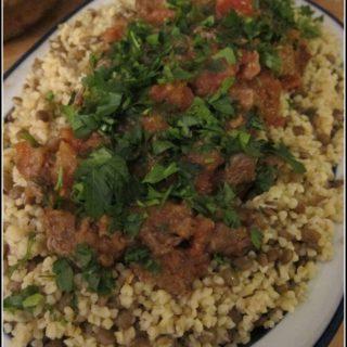 Beef with Green Lentil Bulgur Pilaf/Mercimekli Bulgurlu Dana Kebabı